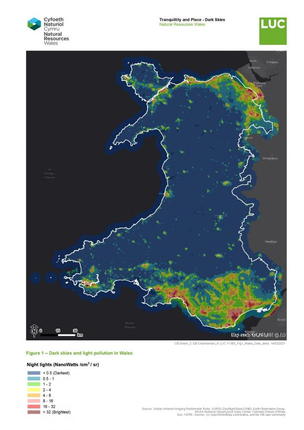 North Wales Chronicle: Natural Resources Wales has produced a map showing Wales' darkest, and most light polluted, areas
