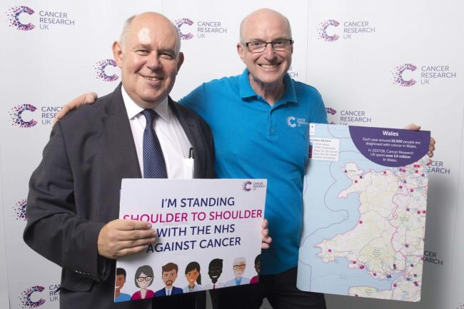 Albert Owen and Trevor Hughes Morris at the Cancer Awareness Roadshow held in Parliament