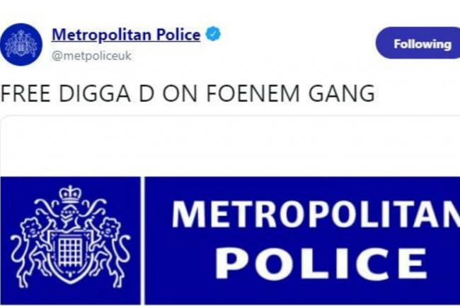 Screengrab taken from Twitter of @metpoliceuk,