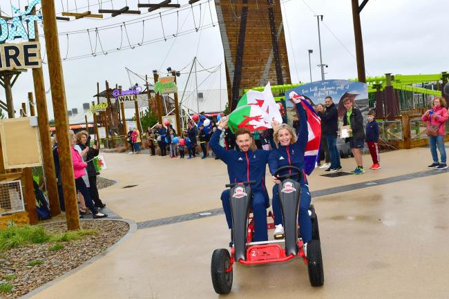 Team GB athletes Becky James and Owain Doull open the Haven Hafan y Mor Holiday Park in Pwllheli