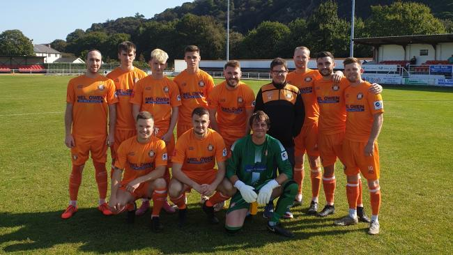 Conwy Borough line up before their home draw with Ruthin Town
