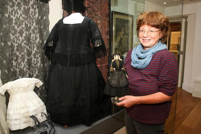 Emma Hobbins of Storiel Bangor pictured with'Victoria in Storiel' exhibits. Picture: Kerry Roberts KR161019a
