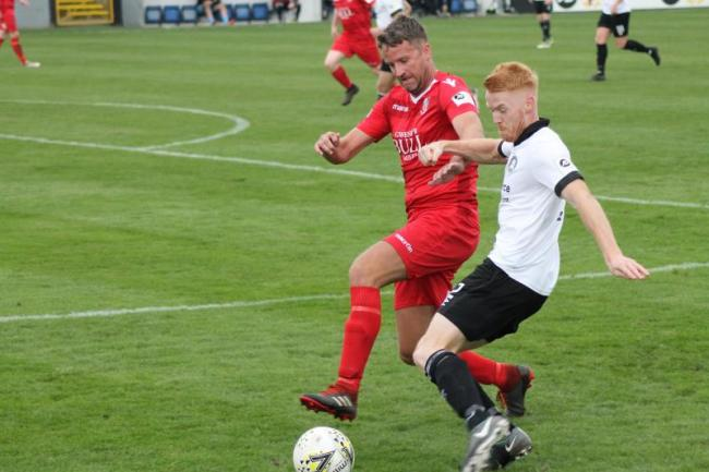 Action from Llangefni Town's defeat at Rhyl (Photo by James Curran)