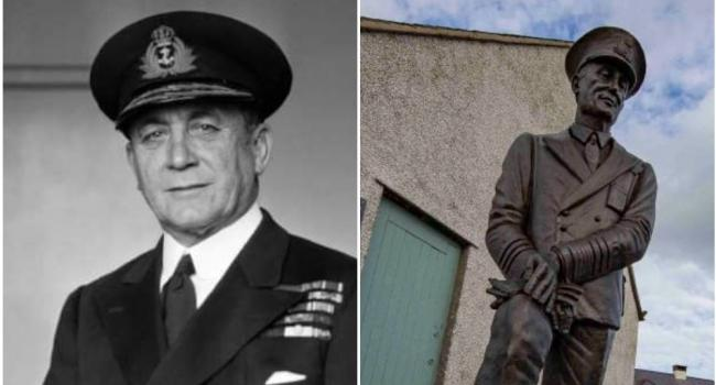Admiral Max Horton and the statue of him unveiled in Rhosneigr. PICTURE: Llanfaelog a Rhosneigr Community Group.
