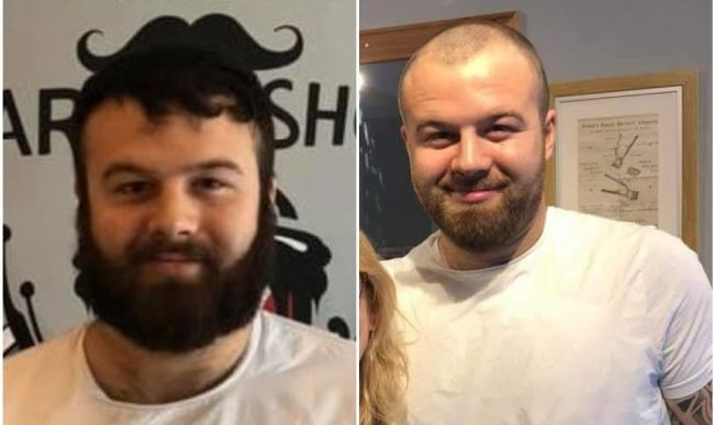 Alex Clarke before and after the shave.