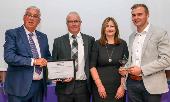 Winners of the Social Value Award were family firm Snowdonia Fire and Security, pictured with North Wales Police Commissioner Arfon Jones are Peter, Janet and Marc Greasley.