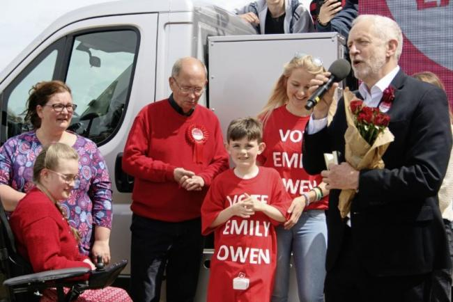 Jeremy Corbyn on his visit to Colwyn Bay and Aberconwy candidate Emily Owen in 2017