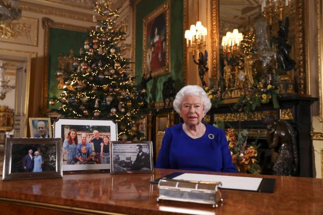 Queen Elizabeth II records her annual Christmas broadcast in Windsor Castle, Berkshire. Picture: Steve Parsons/PA