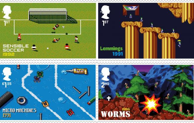 Royal Mail of stamp of video games Sensible Soccer, Lemmings, Micro Machines and Worms, as part of a set of stamps released of classic video games