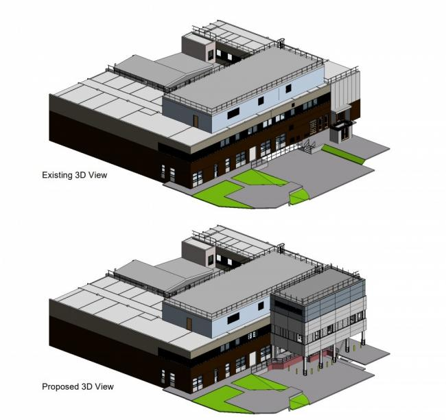 Gwynedd Council planners have approved the application at Bangor\'s Ysbyty Gwynedd which, according to health board chiefs, would create 18 new jobs and expand the hospital\'s capacity. Screengrab from planning documents.