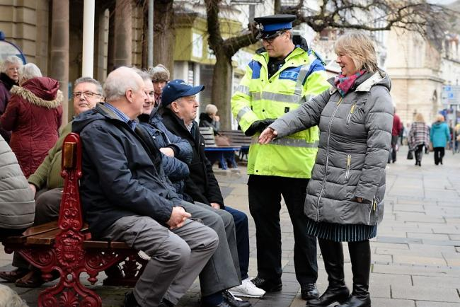 Ann Griffith, Deputy Police and Crime Commissioner on the beat in Llandudno with PCSO Chris Perkins..