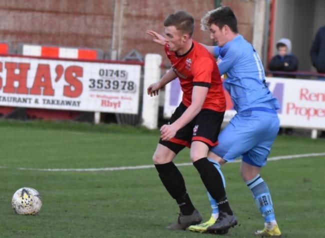 Action from Conwy Borough's defeat at Prestatyn Town (Photo by John Pickles)