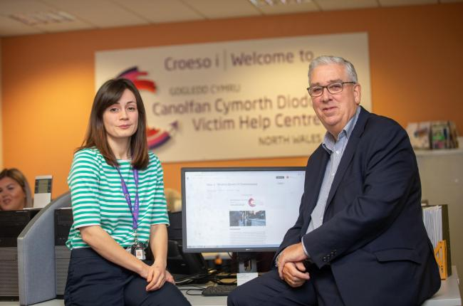 Kamille Fijalkowski ( Modern Day Slavery Caseworker) and Arfon Jones PCC at the victim help centre.