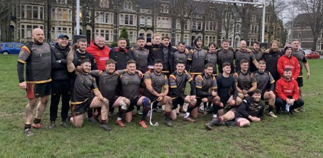 Holyhead celebrate their outstanding win at Cardiff Saracens