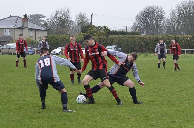 Action from Llangoed's win over Bro Goronwy (Photo: Bro Goronwy FC)