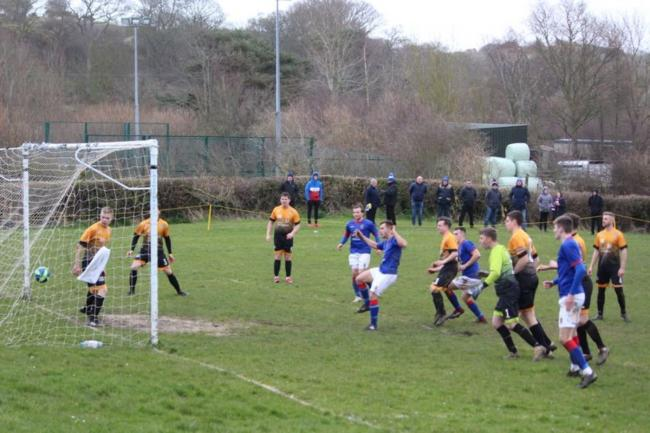 Goalmouth action from Bangor 1876's win at Llysfaen