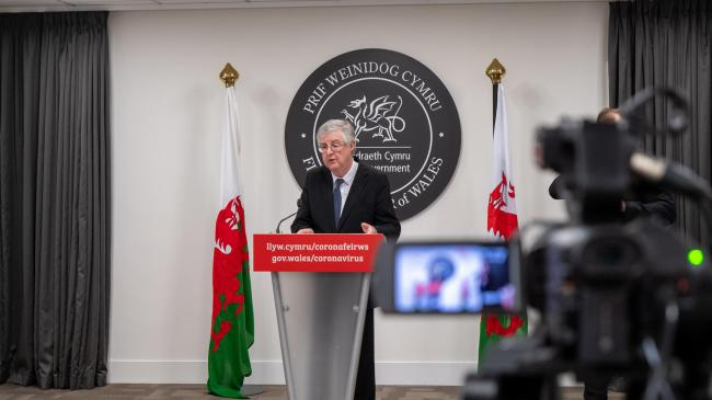 The First Minister Mark Drakeford at the Welsh Government's daily coronavirus press conference.
