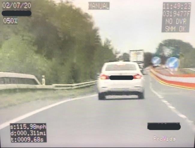 A DRIVER was stopped by police after being clocked at 115mph through roadworks on the A55 in Anglesey. Image: NWP