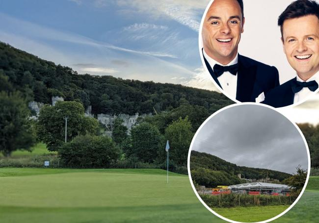 Abergele Golf Club site; Ant and Dec and work taking place ahead of I'm a Celeb at Gwrych Castle