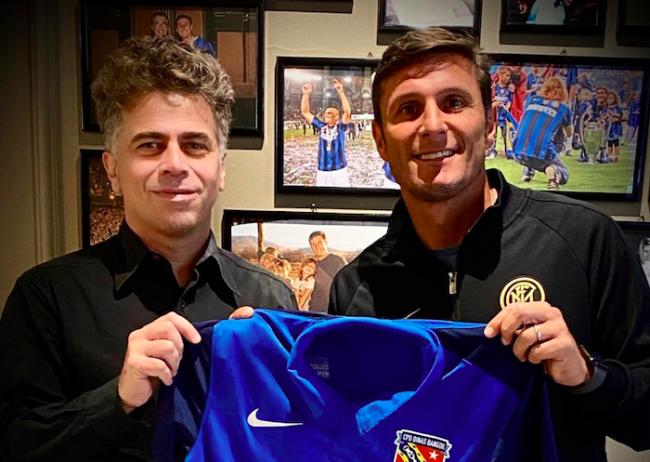 Bangor City president Domenico Serafino and former Inter Milan legend Javier Zanetti