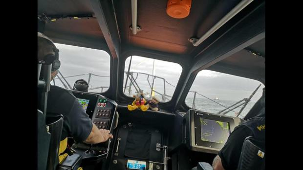 North Wales Chronicle: Rhyl RNLI lifeboat in multi-agency search for missing fishing boat. Picture: Rhyl RNLI