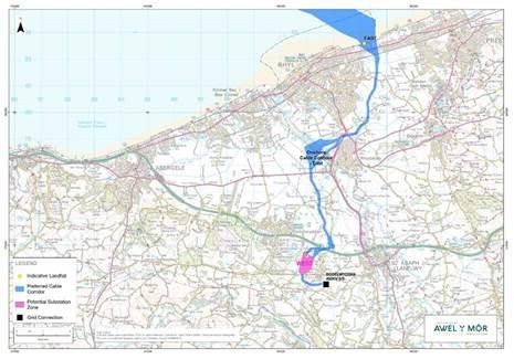 North Wales Chronicle: The preferred locations for the onshore cable corridors leading to the substation in Bodelwyddan.