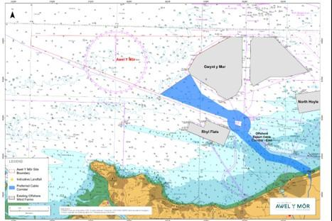North Wales Chronicle: The proposed offshore cable corridors for the Awel y Mor Offshore Wind Farm