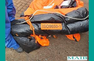 North Wales Chronicle: The liferaft for fishing vessel Nicola Faith has been recovered. Pictue: MAIB