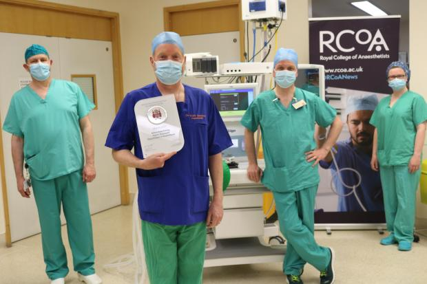 Consultant Anaesthetists Dr Ian Johnson, Dr Tony Shambrook, Dr Jason Walker and Dr Linda Warnock who are part of the Anaesthetic team at Ysbyty Gwynedd.