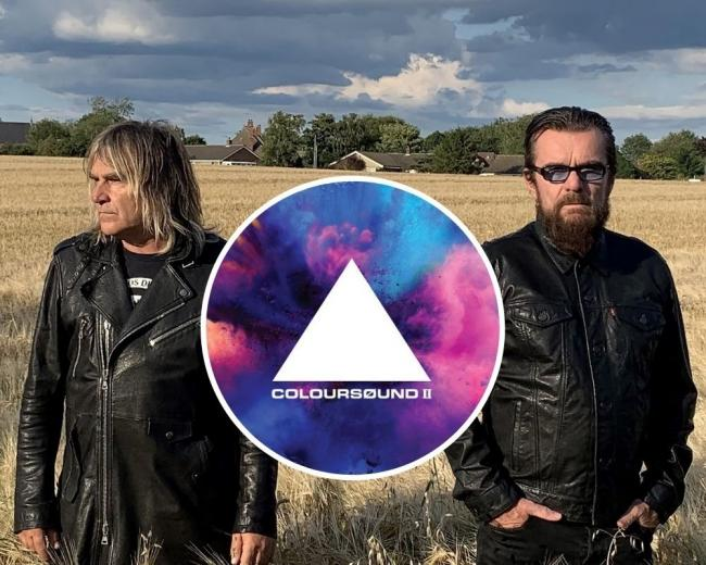 Mike Peters (left), Billy Duffy and (inset) the 'COLOURSØUND II' album cover