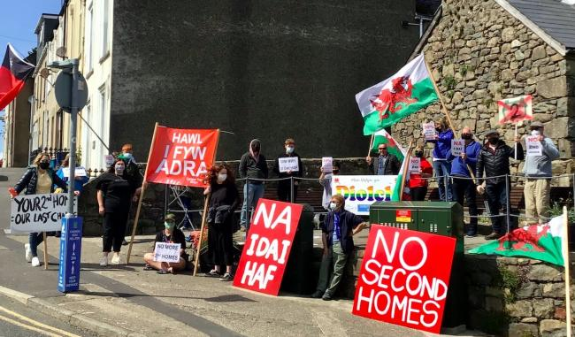 Demonstration in Nefyn on Saturday, May 1 against the rising issue of second home ownership in the area. Credit- LDRS