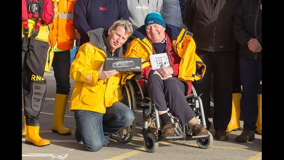 Trearddur Bay RNLI member with the camera and Roger Chisholm