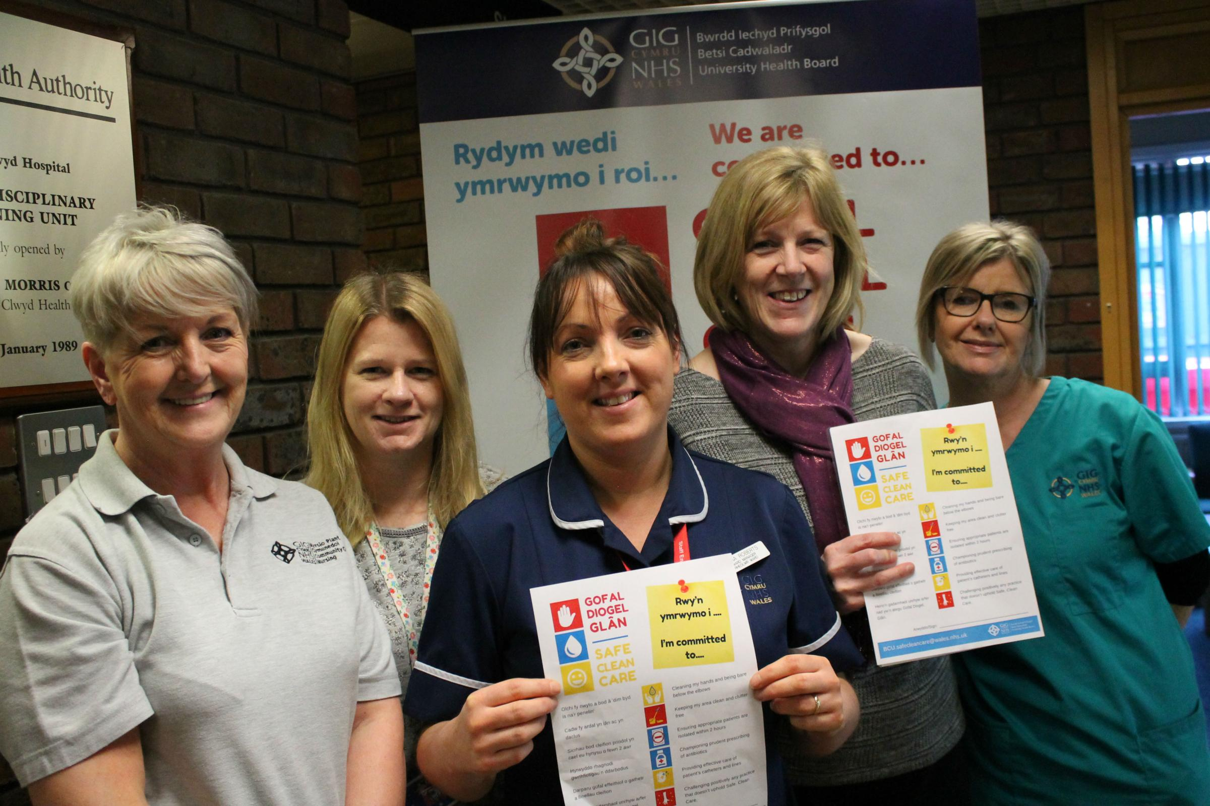 Glan Clwyd Hospital Children's ward staff Tracey Jones, Tracy MacDonald, Cara Roberts, Jane Thomas and Melanie Roberts
