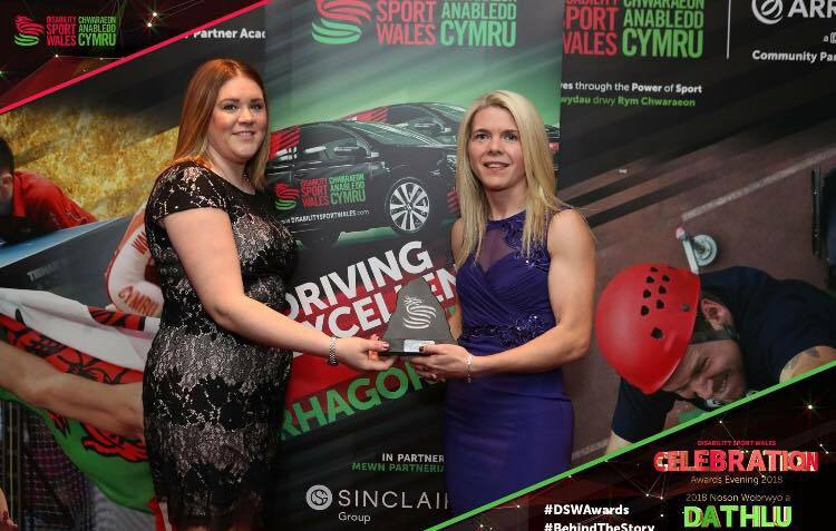 Mair Eluned (right) receiving her special award. PICTURE: Bangor Gymnastics Club