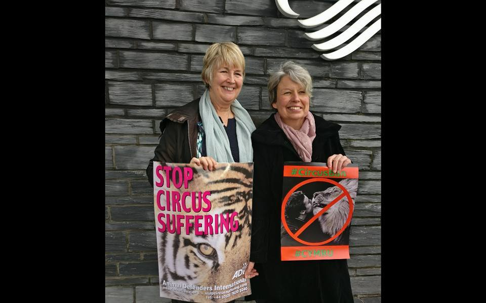 Linda Joyce-Jones (right) with Sian Gwenllian AM outside the Senedd last month. PICTURE: Facebook
