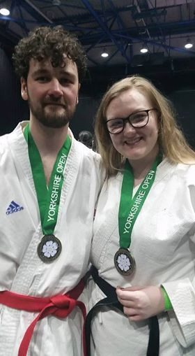 Sean England and Elisha Sudlow-Poole of the Bangor Karate Union. Picture: Tanya Riley
