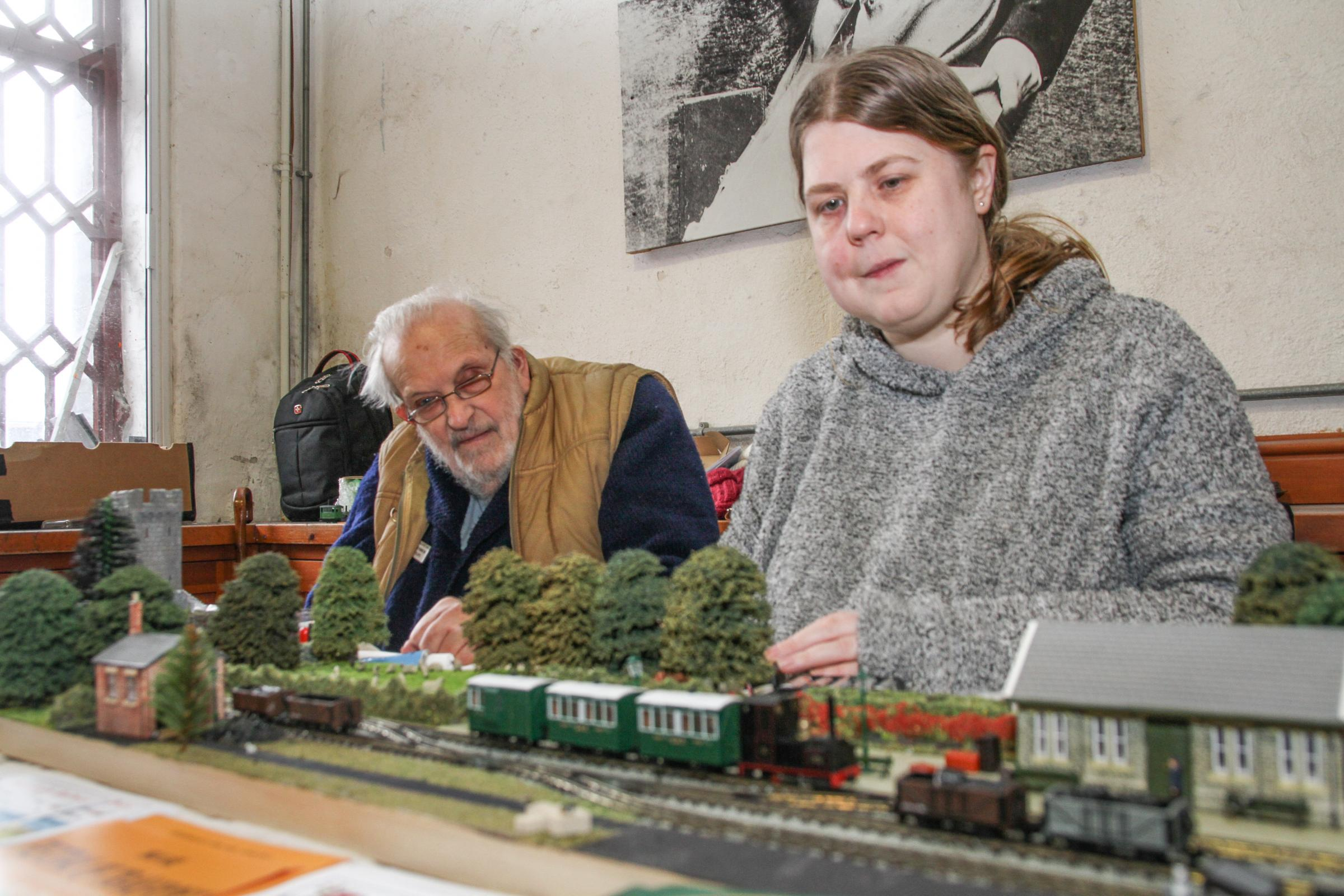 Paul Tower and Joanna Vincent of Porthmadog, with their display. Paul is the former editor of Model Railway magazine and has been exhibiting since 1967. PICTURE: Kerry Roberts.