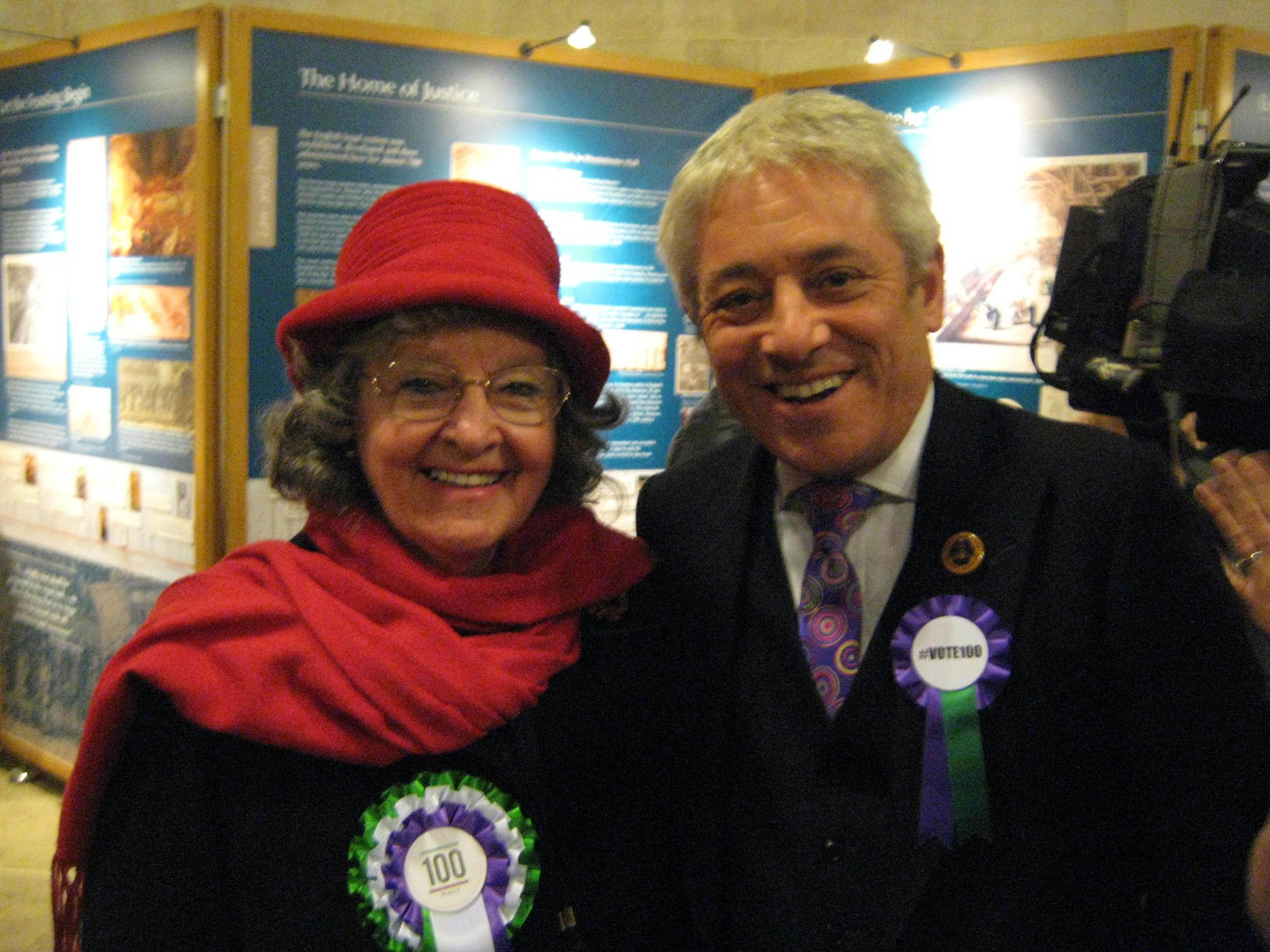 Betty Williams with The Speaker of the House of CommonsThe Rt. Hon. John Bercow MP