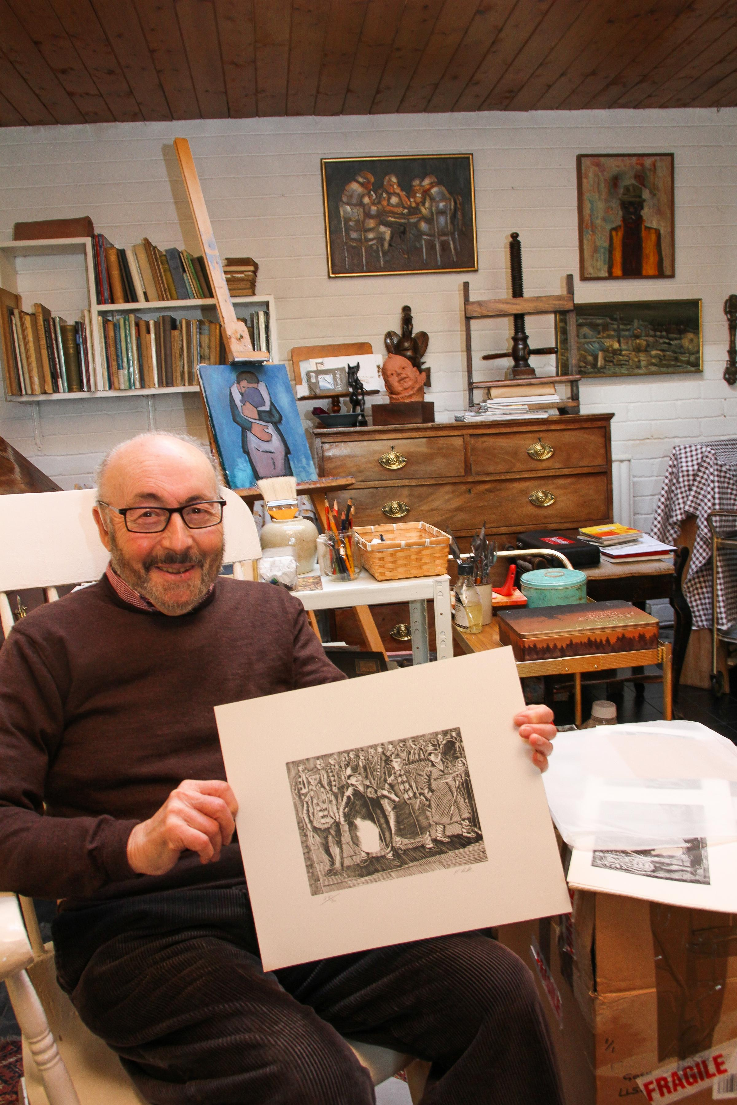 Artist Karel Lek of Beaumaris, who's two paintings are to be displayed in the National Football Museum in Manchester. PICTURE: Kerry Roberts.