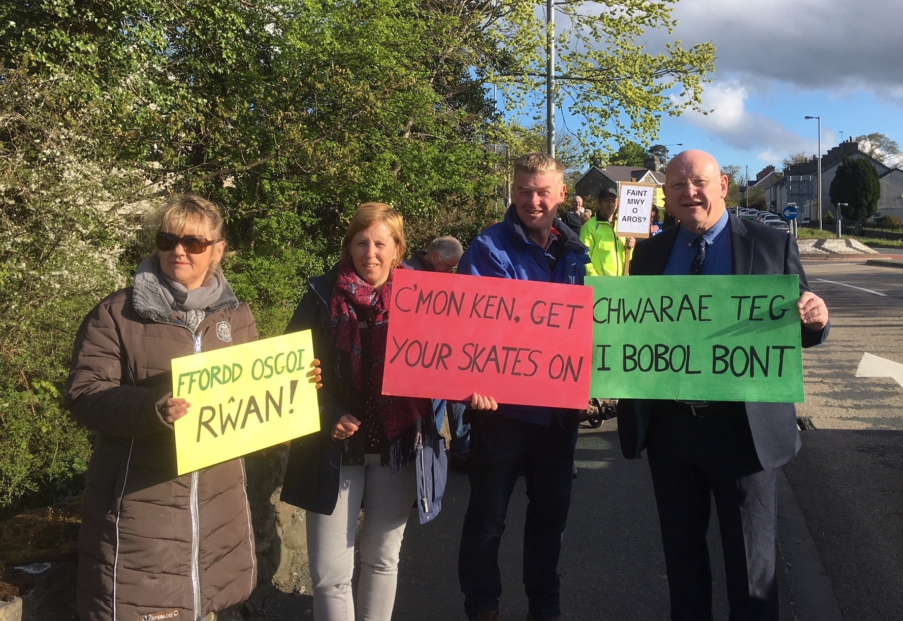 Pictured: Caernarfon bypass is to go ahead...Hywel Williams MP pictured during a recent protest calling on the Welsh Government to set a date