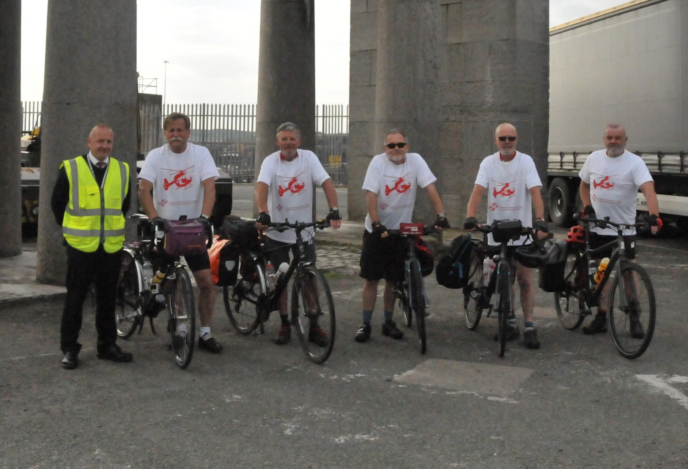 The Beardy Bikers preparing to set off from the Admiralty Arch in Holyhead.