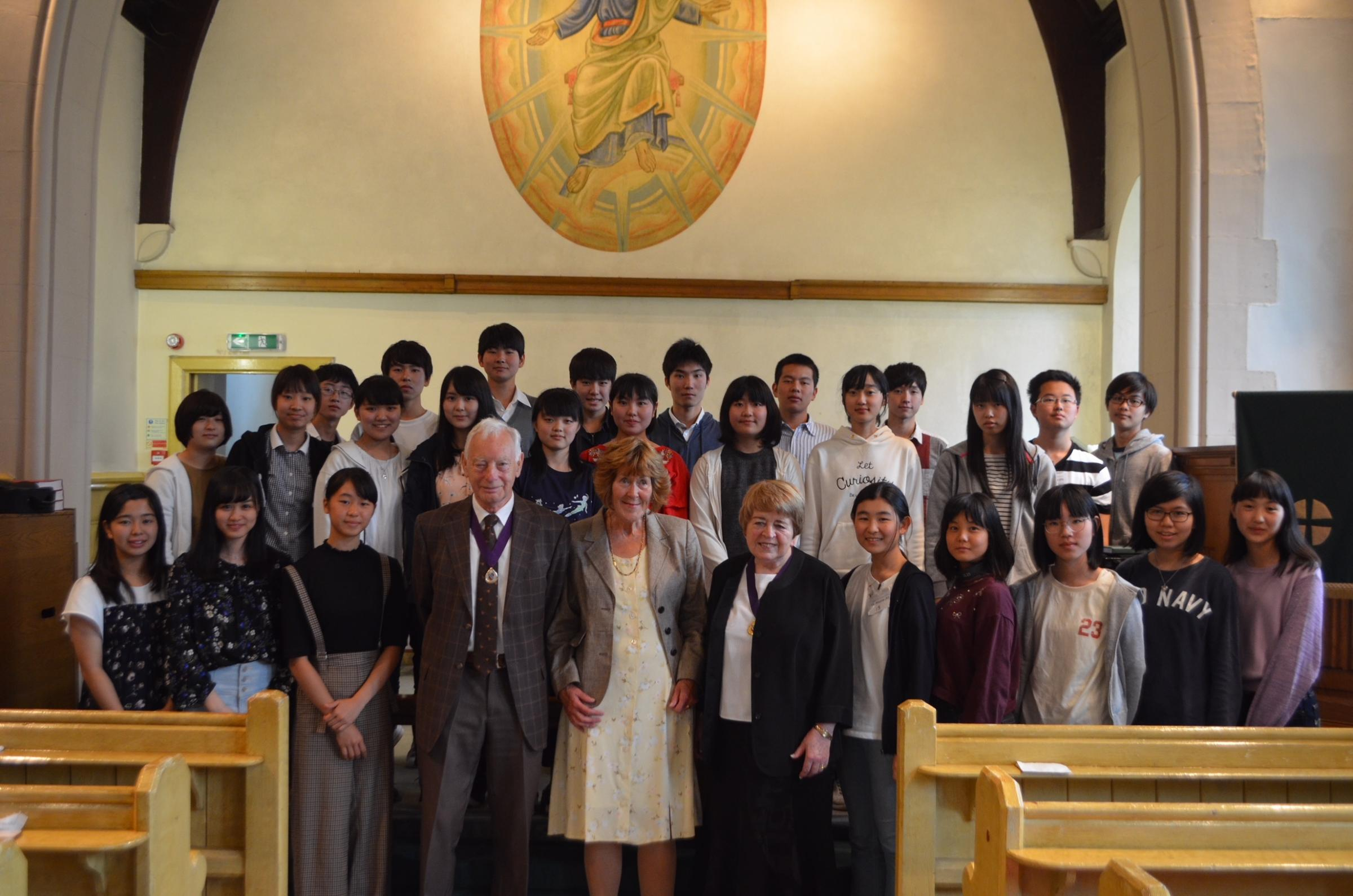 The Japanese students during their visit to St. John's alongside Jean Forsyth and Cllr. John Martin. PICTURE: Kumi Sanada