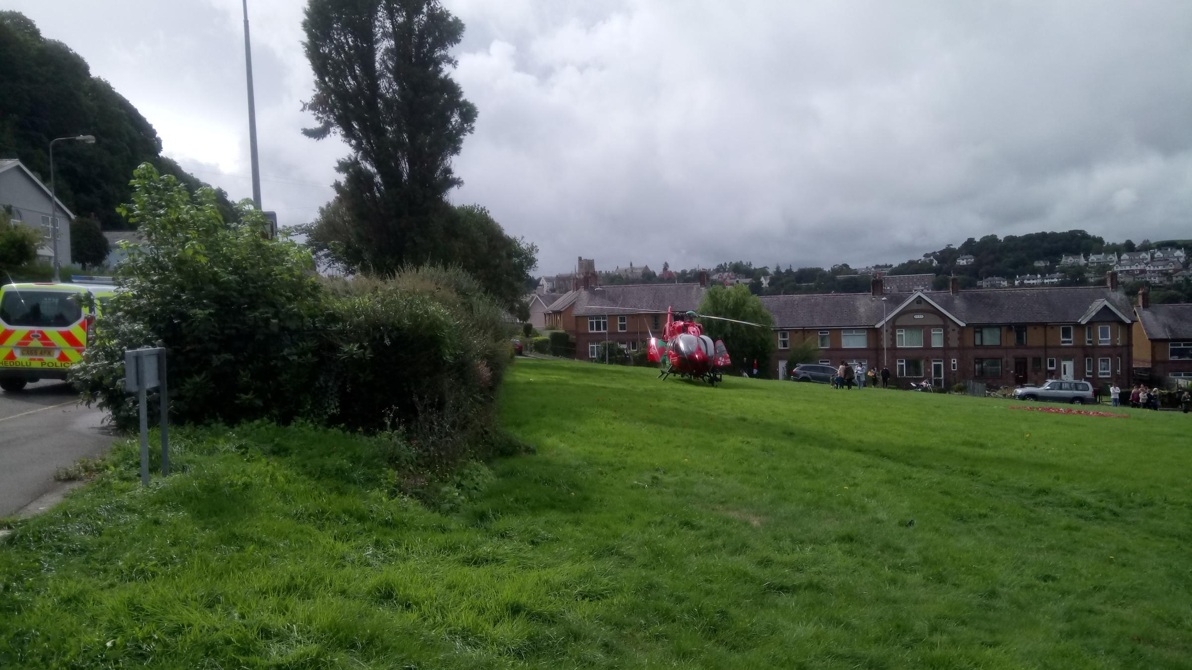 The air ambulance at the scene. picture: Allan George