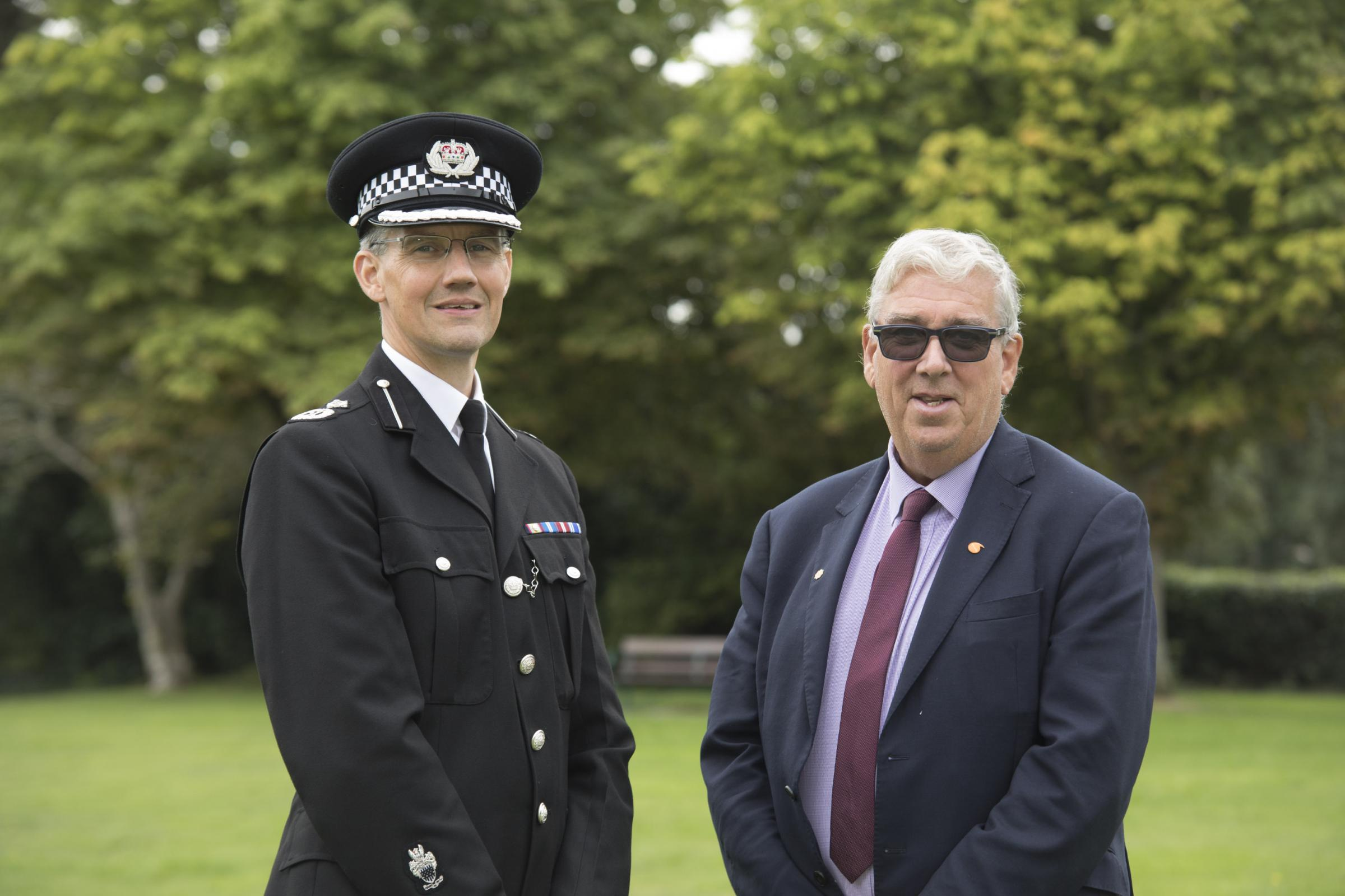 New Chief Constable of North Wales Carl Foulkes with PCC Arfon Jones.