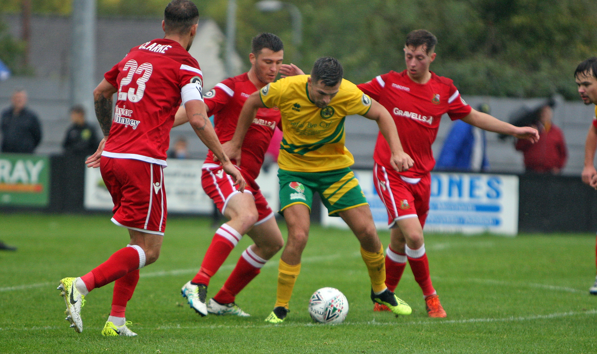 Caernarfon Town's Danny Brookwell in action against Llanelli Town (Photo: Richard Birch)