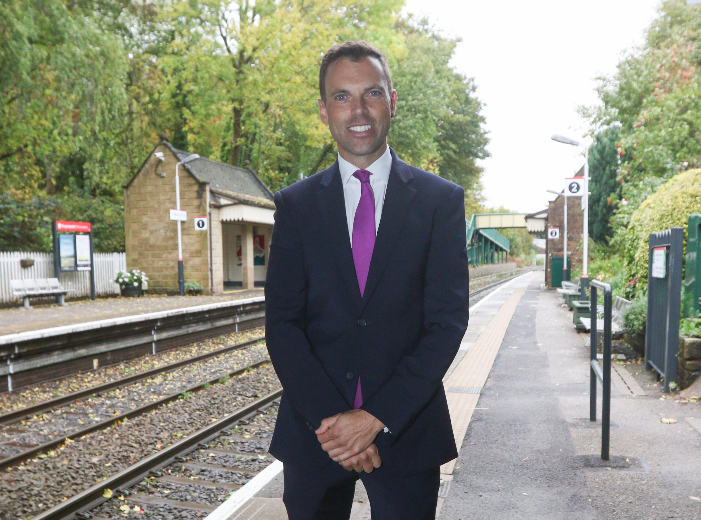 Ken Skates AM ..Cabinet Secretary for Economy and Transport making announcement about raiways and infastructure at Chirk Railway station..cc121018K.