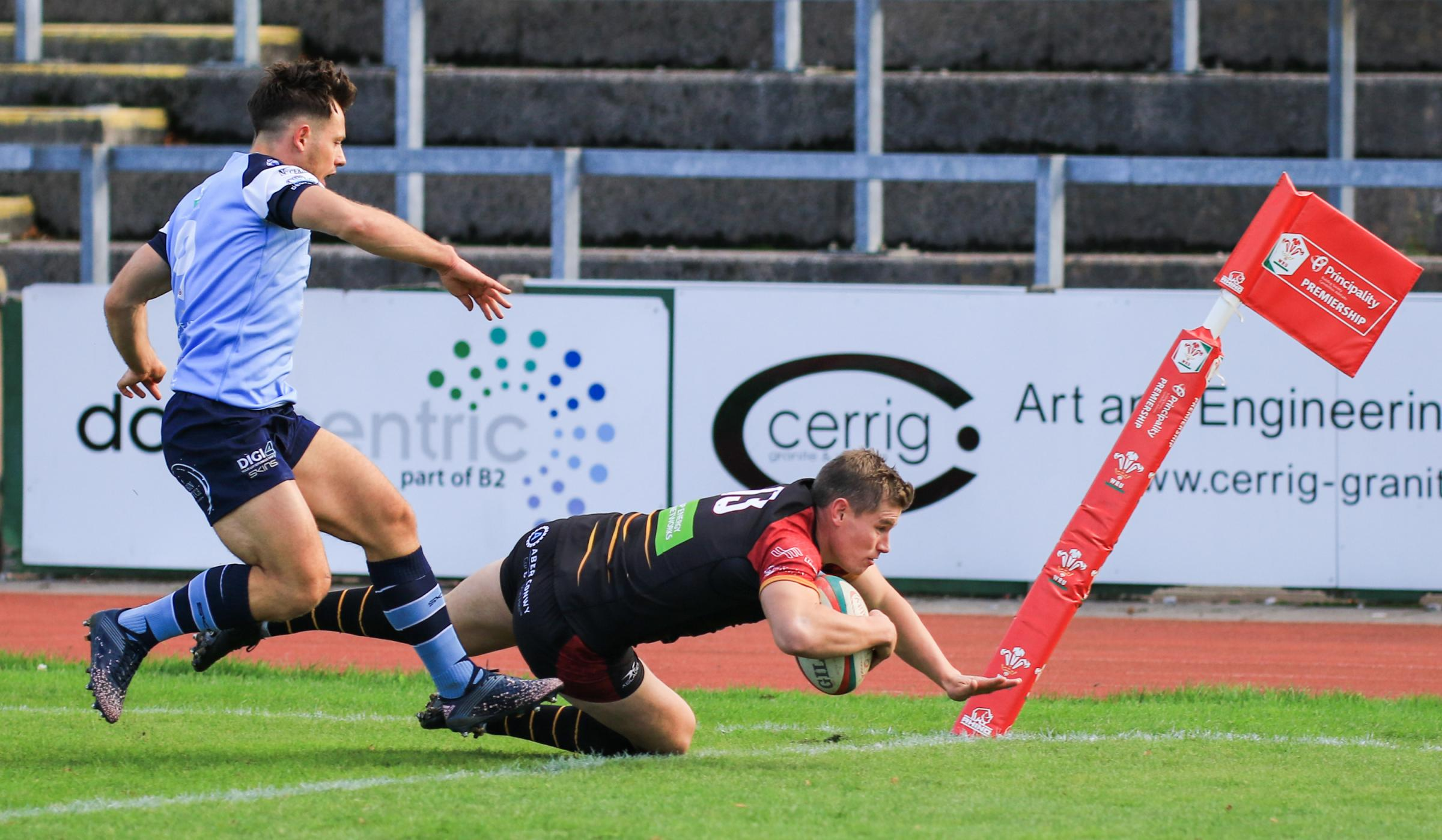 Tom Hughes scores for RGC against Bargoed (Photo: Tony Bale)