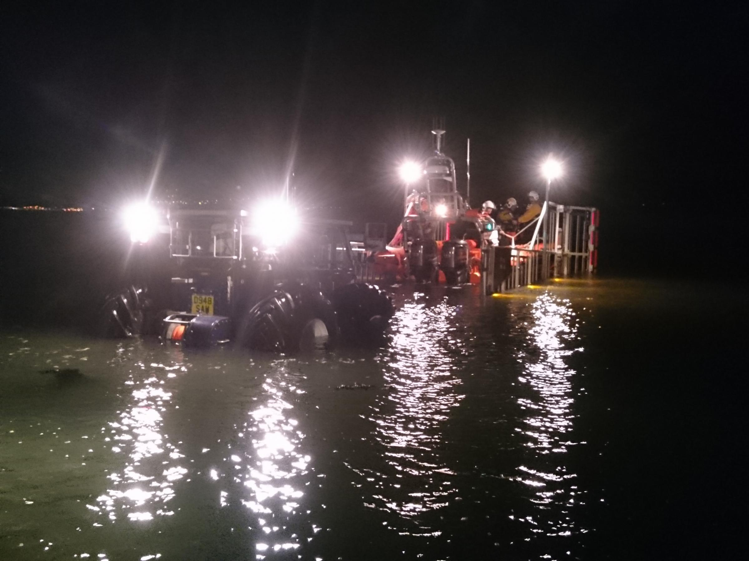 Night time recovery RNLI Beaumaris
