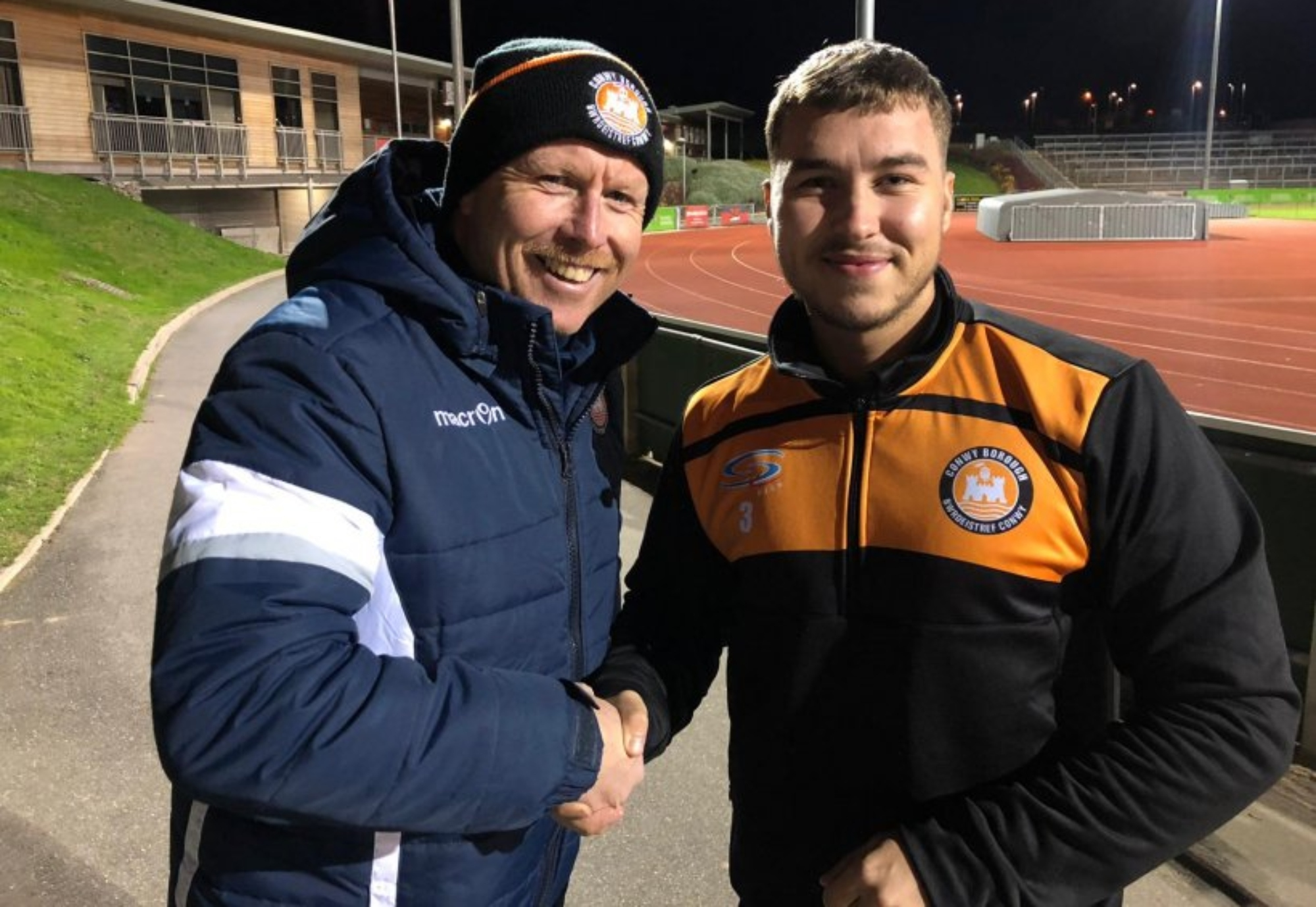 Jack Roberts with Conwy Borough manager Gareth Thomas