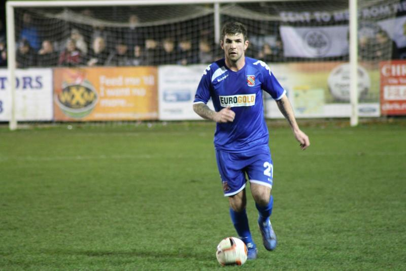Mike Williams went close on two occasions for Bangor City against Rhyl (Photo by James Curran)
